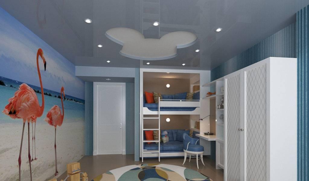 Двухуровневый натяжной потолок в интерьере детской комнаты