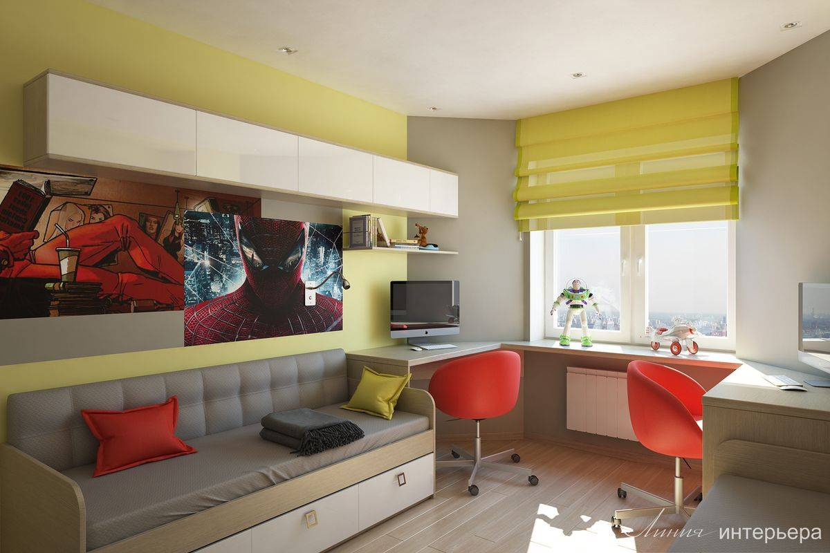 Дизайн детской комнаты 12 кв м: фото интерьера комнаты для подростка, для двоих