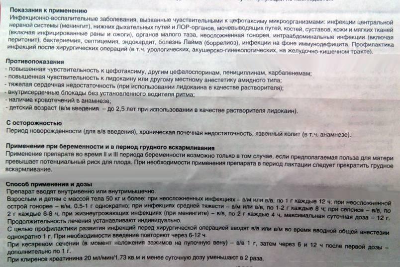 Цефотаксим инструкция по применению: уколы для лечения