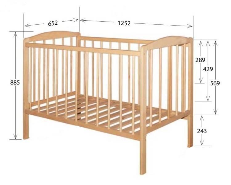 Стандартные размеры детских кроваток для новорожденных и габариты других моделей