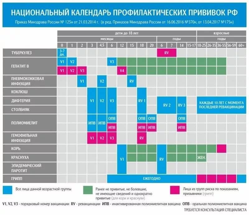 Таблица прививок по возрасту от рождения до 14 лет