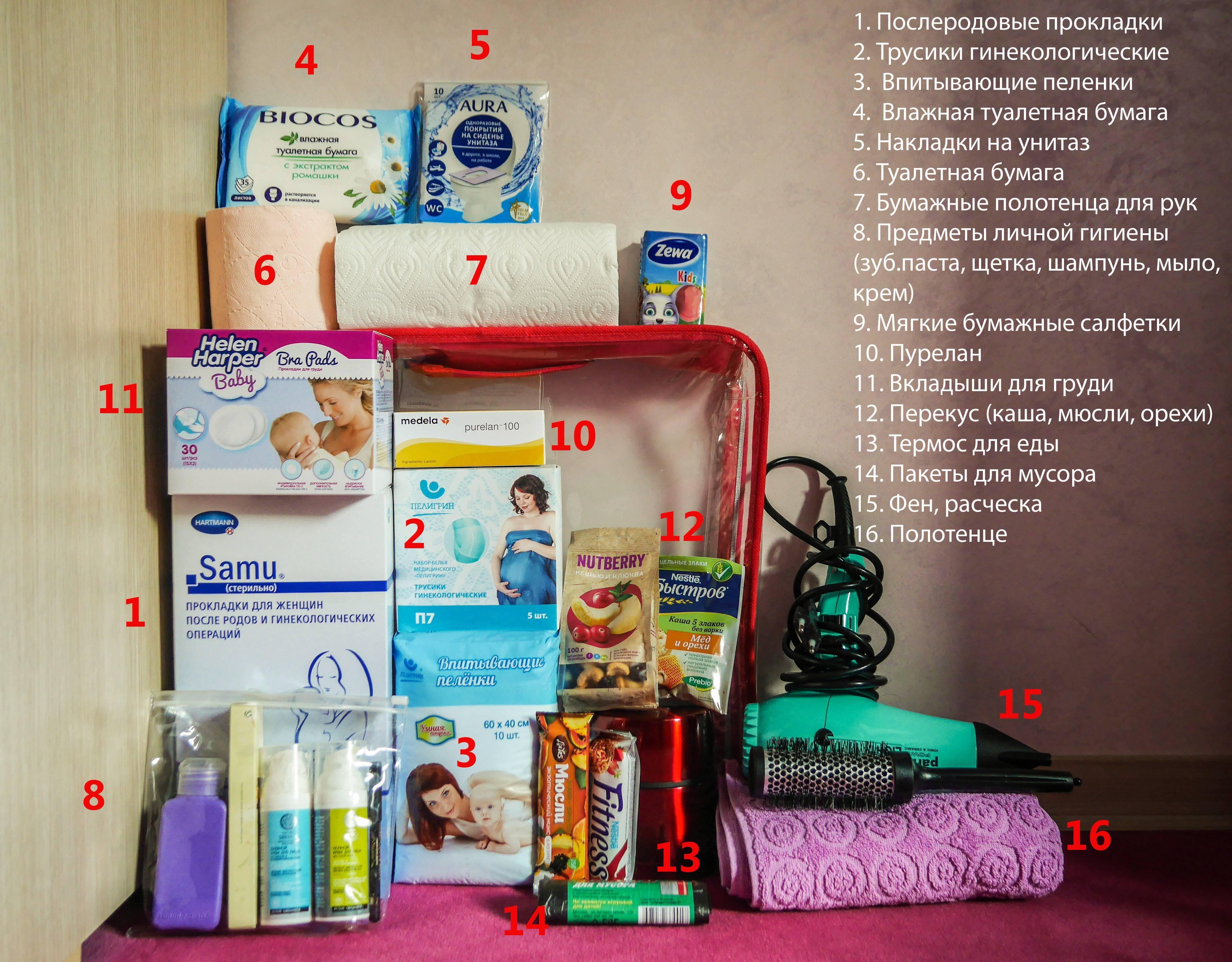 Вещи, которые необходимо взять с собой в роддом.
