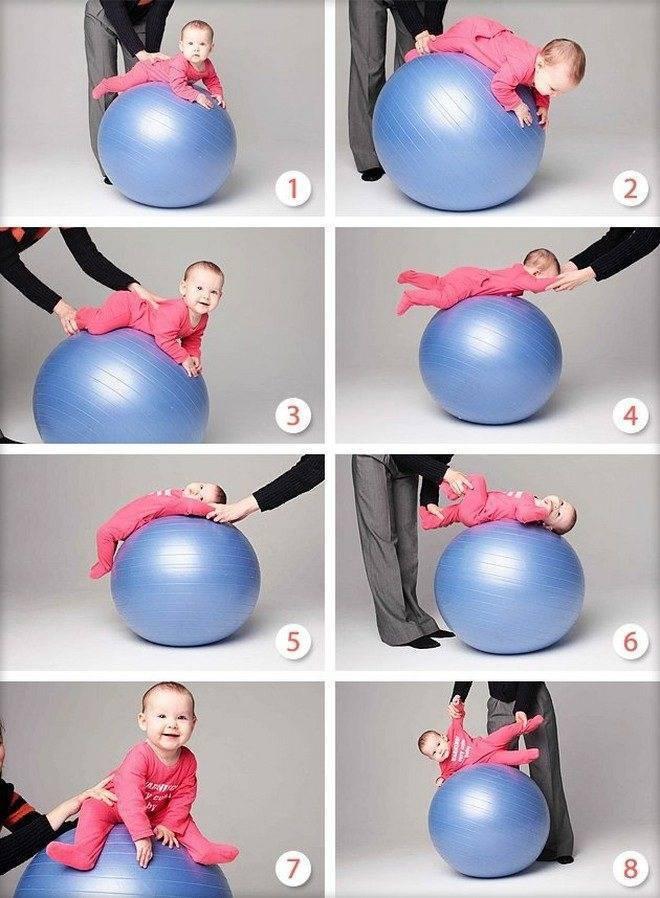 Фитбол для грудничков: упражнения, занятия, гимнастика с детьми от 1-3 месяцев