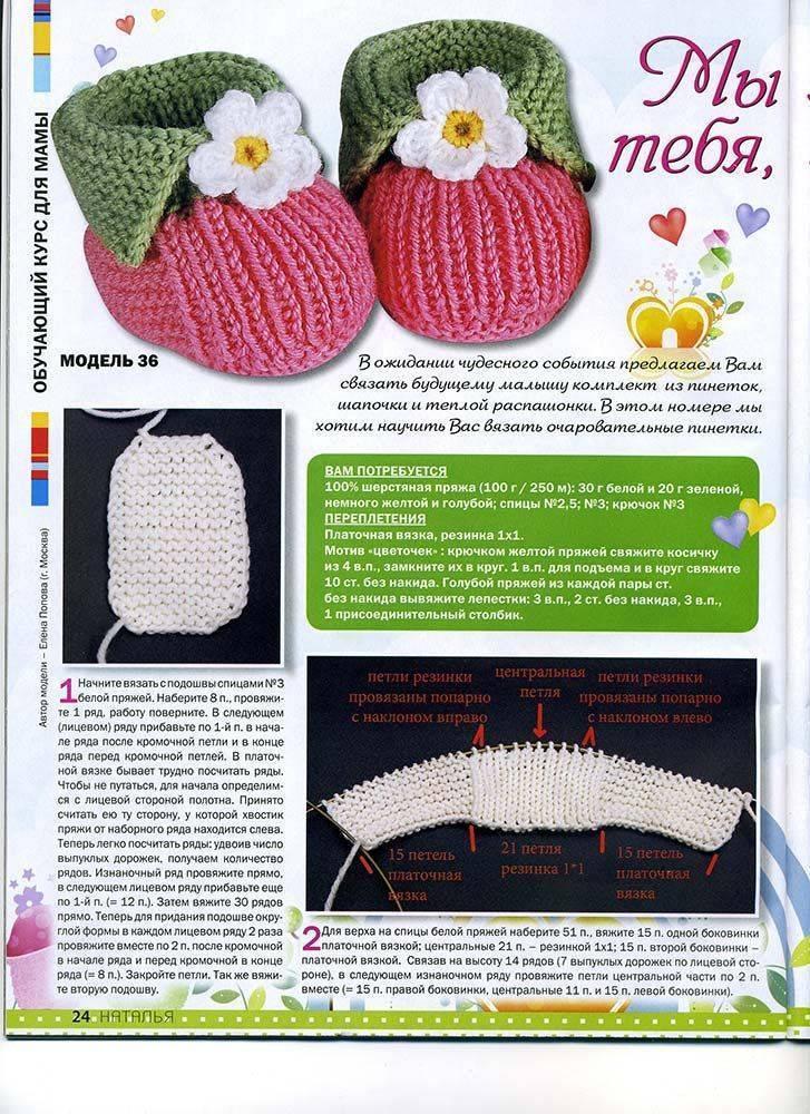 Вязание пинеток крючком для новорожденных детей