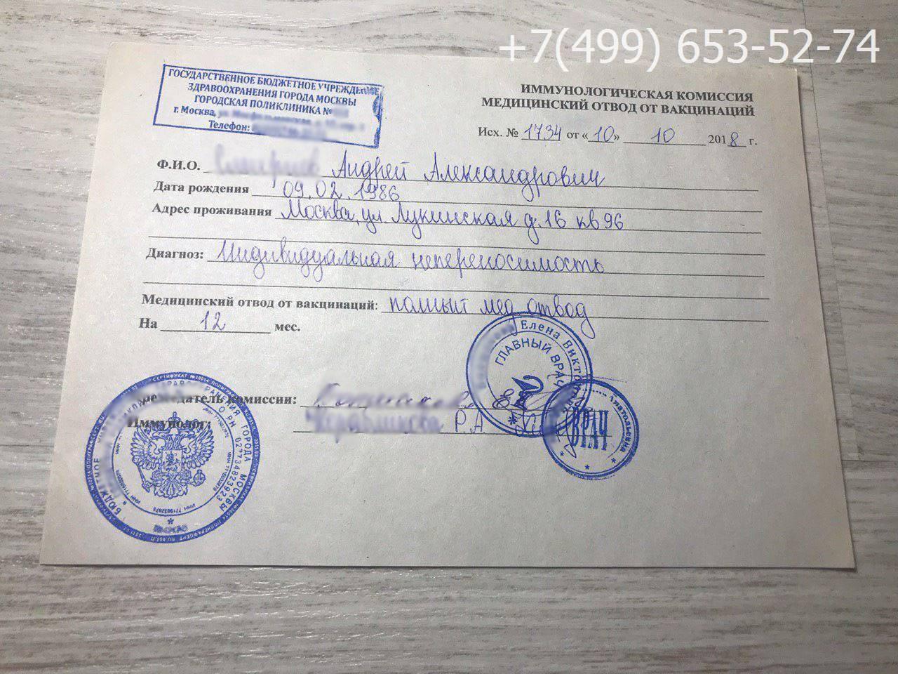 Медицинский отвод от вакцинации / mama66.ru
