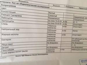 Копрограмма расшифровка у грудничка лейкоциты | tsitologiya.su