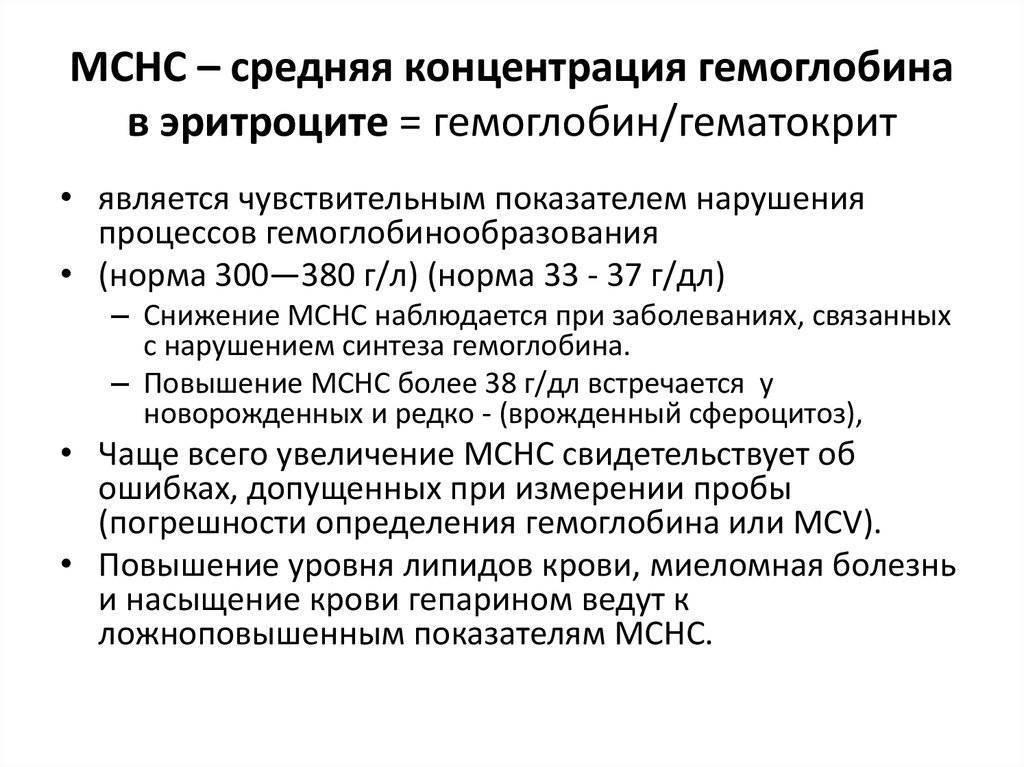 Средняя концентрация гемоглобина в эритроцитах (mchc)