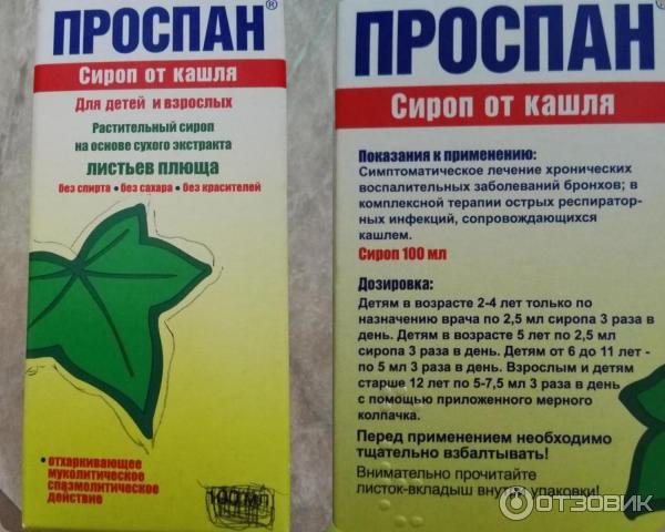 Лекарство от кашля для детей до года проспан