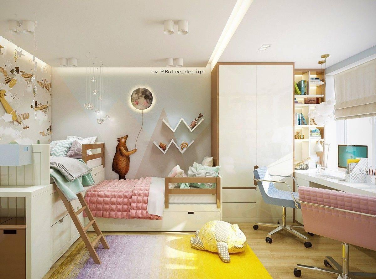 Детская для девочки и мальчика в одной комнате: дизайн интерьера для двух разнополых детей