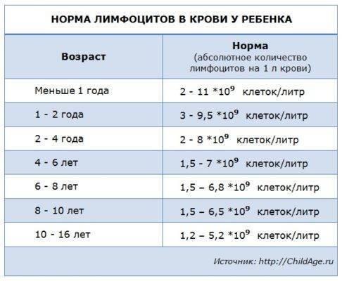 Норма лимфоцитов в крови у ребенка: таблица по возрасту - я здоров