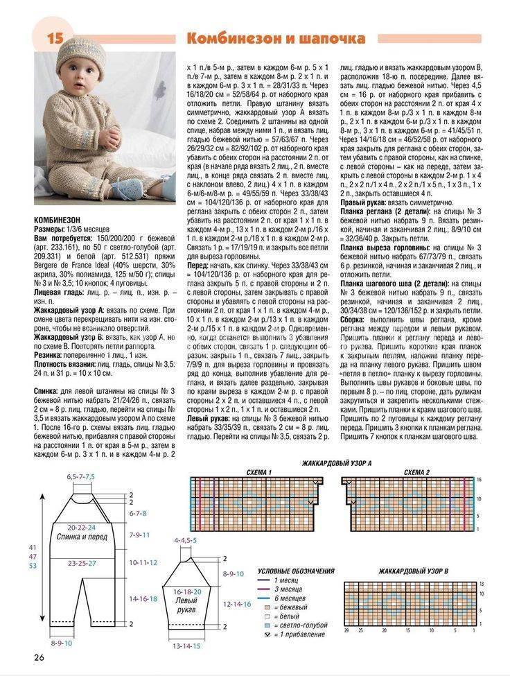 Комбинезон вязаный для новорожденного спицами. схемы и описанием, новые модели