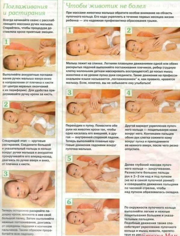 Учимся делать массаж животика грудничку при запоре. как правильно делать массаж при запоре у новорожденного и грудничка?