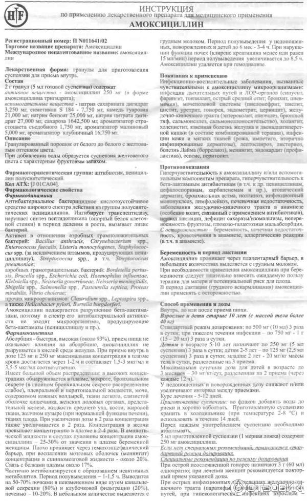 Амоксициллин для детей: инструкция по применению суспензии (125 и 250 мг), сиропа и таблеток