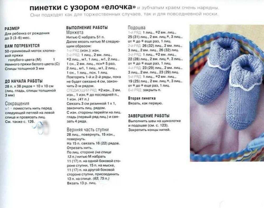 Носочки для новорожденных спицами: схемы вязания от 0 до 2 месяцев с пошаговым описанием