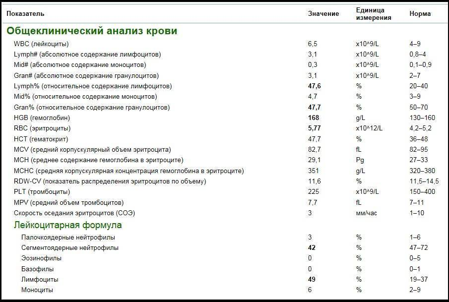 Нейтрофилы - норма у детей в анализе крови (сегментоядерные и палочкоядерные)