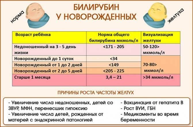 Билирубин у новорожденных — норма и предельные отклонения в таблице по дням