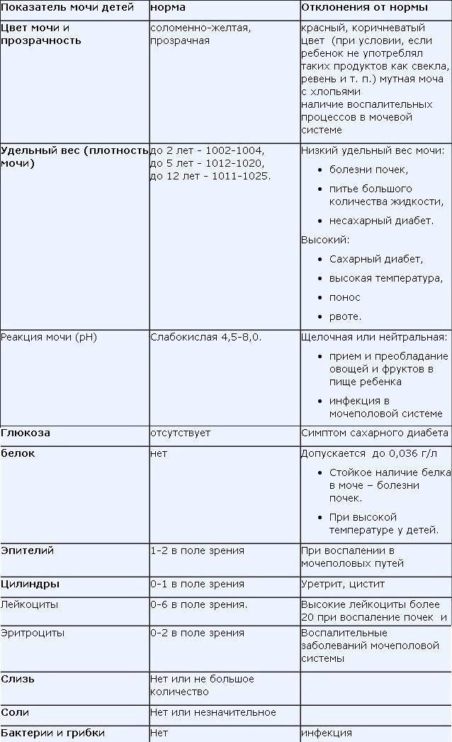 Общий анализ мочи у детей. показатели нормы (таблица) и расшифровка результатов анализа мочи детей