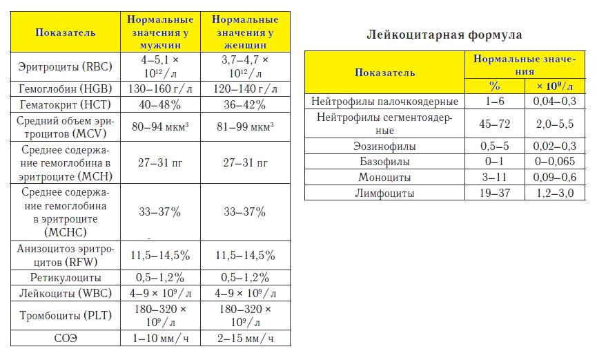 Общий анализ крови                                            (оак)