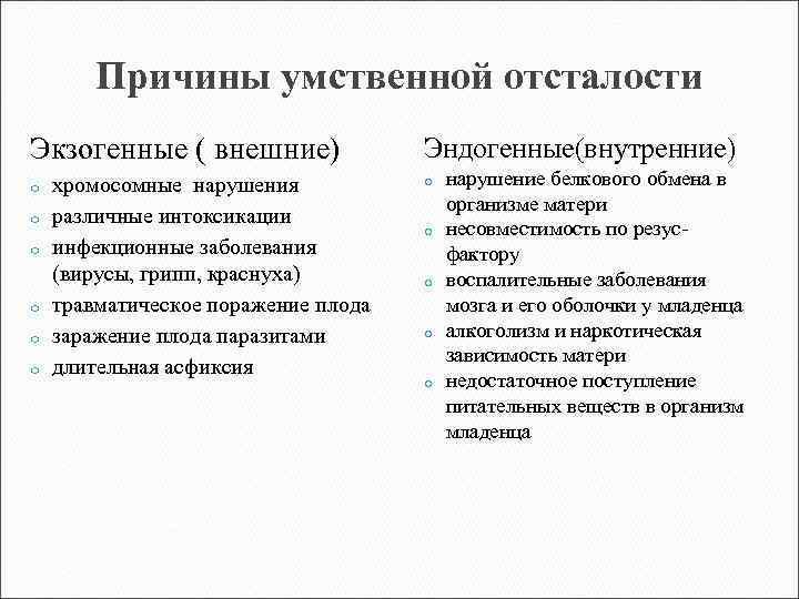 Олигофрения - причины, симптомы, формы и степени олигофрении