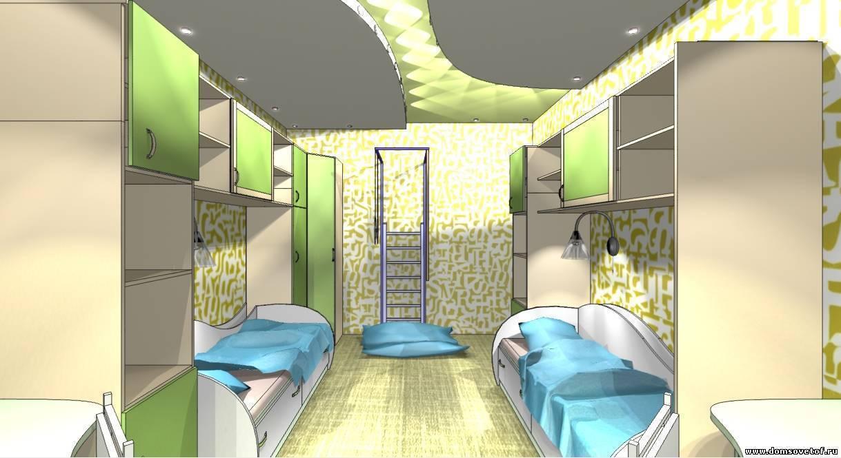 Дизайн детской комнаты 14 кв м: фото примеров интерьера, помещение для двоих