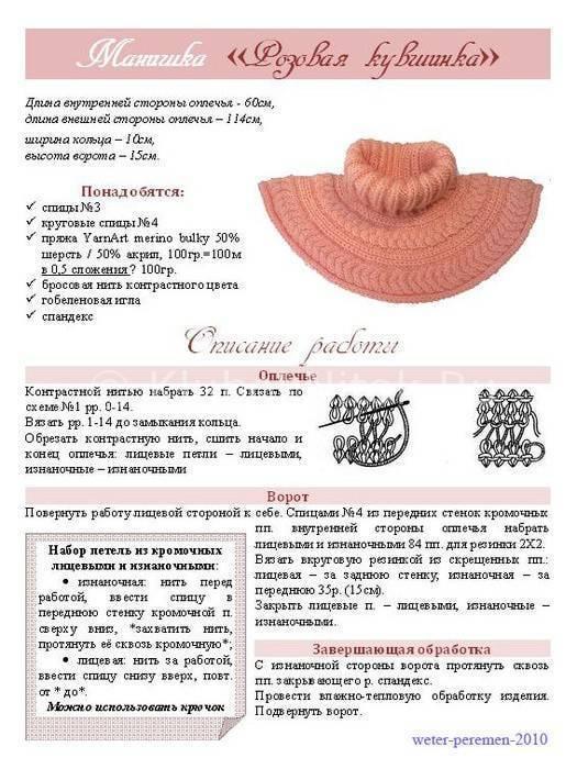 Вязание манишки спицами для детей схемы описание фото