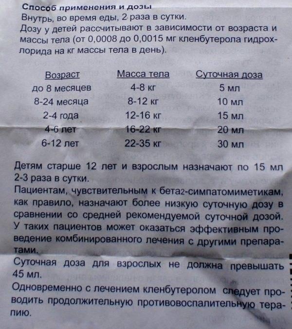 Кленбутерол от кашля детям: инструкция по применению сиропа до 3 лет и старше | препараты | vpolozhenii.com
