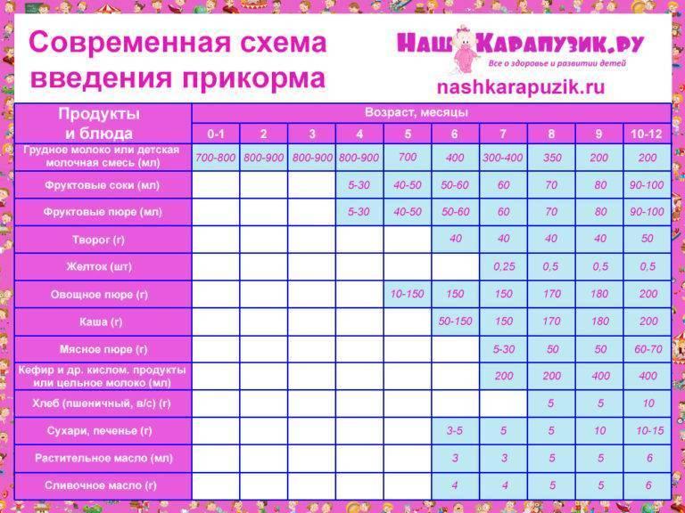 Таблица введения прикорма при грудном вскармливании, схема для грудничка