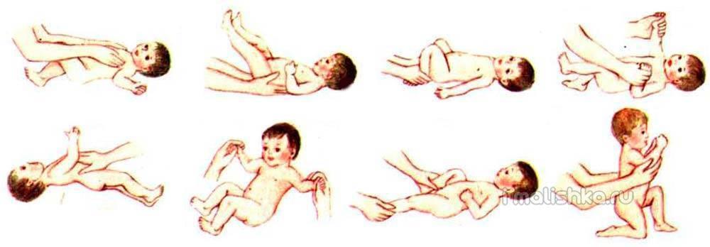 Гимнастические упражнения в первый месяц жизни +видео