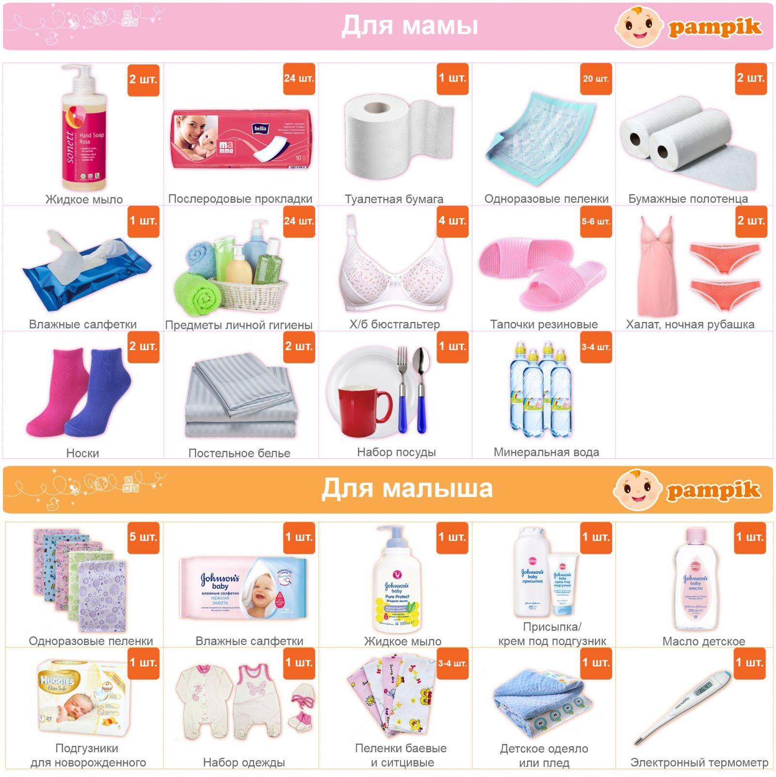 Собираем сумку в роддом: списки вещей для мамы и малыша