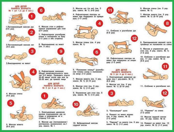 Гимнастические упражнения для детей 1,5-3 месяцев