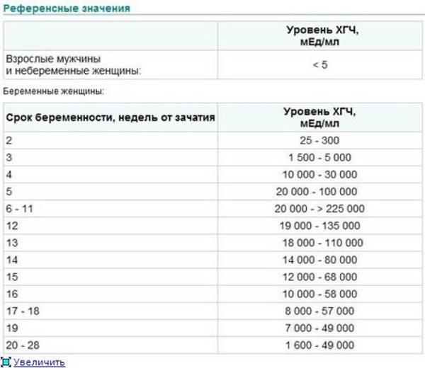 Нормы хгч по неделям беременности (таблица)