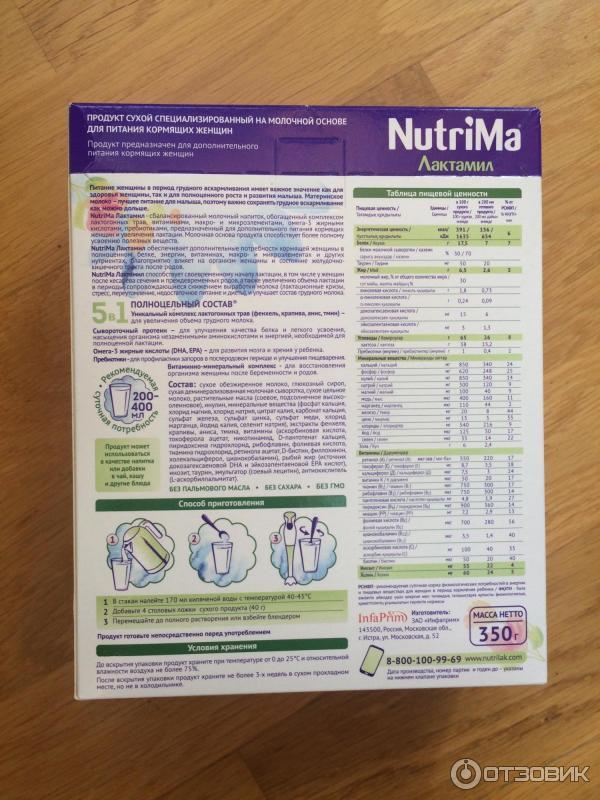 Nutrima лактамил - питание кормящей мамы - лактамил при грудном вскармливании
