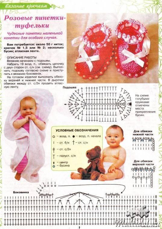 Пинетки крючком для новорожденных - схемы и описание - видео уроки вязания